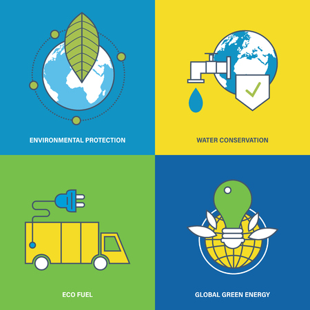 natural energy: Concept of environmental protection, water conservation, eco fuel, global green energy and preservation of natural harmony. Vector illustration. Can be used for banners, advertising, brochures.