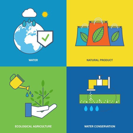 conservation: Concept of environmental protection, preservation of natural reserves of water and maintaining pure agriculture, water conservation. Flat vector illustration.