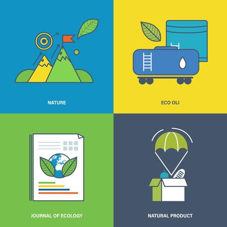 productos naturales: Ilustración sobre el tema de la naturaleza, producto natural, el uso de productos naturales de extracción y refinación. Vectores