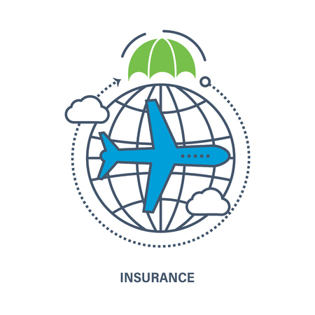 insurer: Business Insurance services of travel companies and air flights. Vector illustration. It can be used for an arrangement of technological process, a banner, the chart, web-design, infographics.