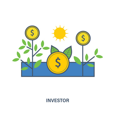 investor: The meaning of the illustrations in the image of the investor, the tools of interaction with the object of investment contributions to the investment object. Illustration