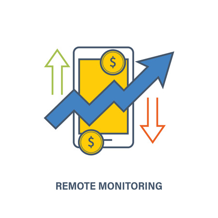 Remote financial monitoring, control and tracking of financial performance. Vector illustration. Can be used for banners, advertising, brochures.