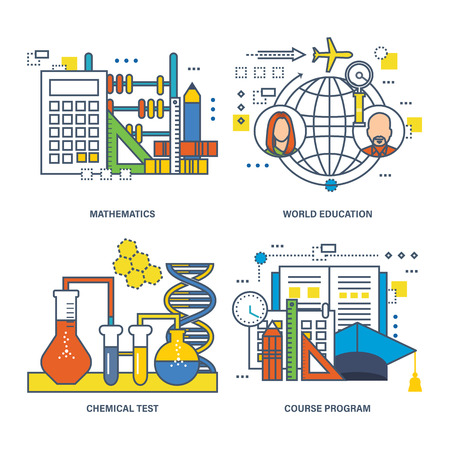 Concept of mathematics, world education, chemical test, course program.  illustration can be used in banners, brochures, commercial projects.