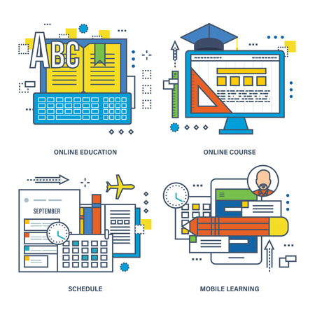 Images on subject of technologies of distance learning, online course, modern education were a part of set of illustrations. Illustrations can be used in banners, brochures, commercial projects.