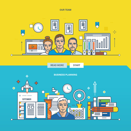 our company: Concept of business planning, our team and teamwork. Color Line icons collection. Vector design for website, banner, printed materials and mobile app. Illustration