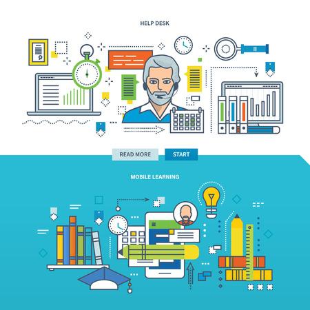 Concepto de clientes de servicios de mesa de ayuda y la tecnología de la formación y el aprendizaje móvil. Línea de color Iconos de la colección.