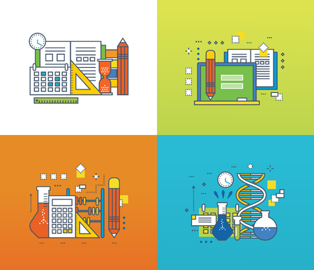 scientific research: Concept of modern education and discipline, scientific research and experiments, online courses. Color Line icons collection. Vector design for website, banner. Illustration