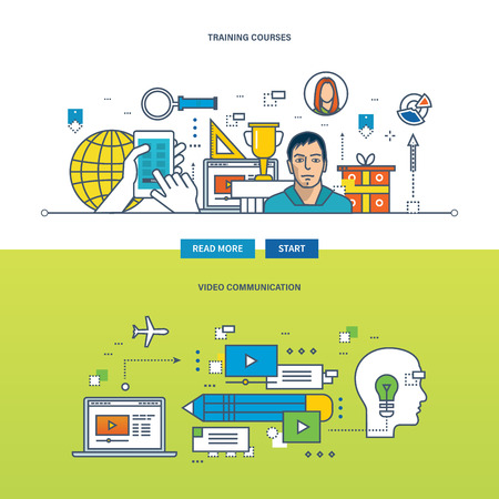 Concept of video communications, training and educational courses. Color Line icons collection. Vector design for website, banner, printed materials and mobile app. Illustration