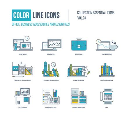 business work: Color Line icons collection. Business accessories and essentials. Desk work, coffee break, training accessories, creative work, business library, office table, training plans, office furniture Illustration
