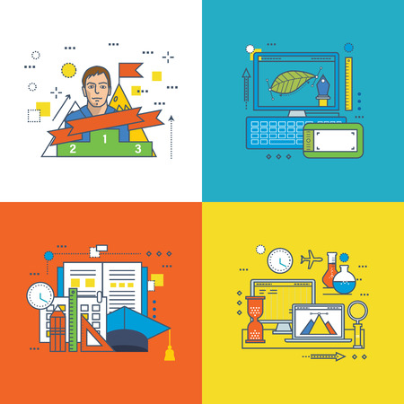 career success: Concept of Graphic design, Education, Success at work, Career growth, Investment and Innovation. Colorful icons collection. Editable Stroke.