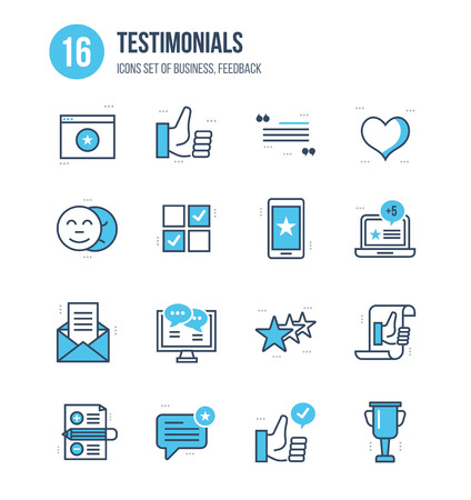 Modern thin line icons set of business, feedback, testimonials, reviews, quotations, vote and like. Technology and methods of voting. Editable Stroke. Stroke vector concept for web graphic. Vettoriali