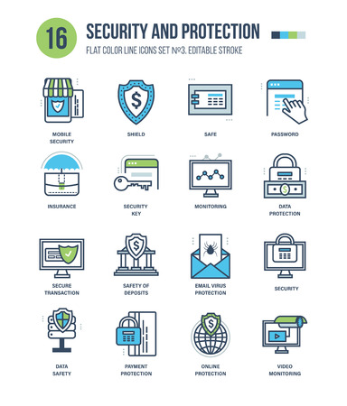 web security: Modern thin line icons set of security, shield, insurance, security key, monitoring, protection, secure transaction, safety of deposits. Editable Stroke. Stroke vector concept for web graphic.