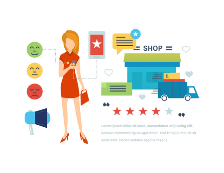 Concept illustration of customer testimonials. Girl leaves a review and rating of in a mobile application of the online store. Editable Stroke. Vector illustration. Illustration