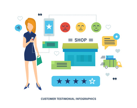 review: Concept illustration of customer testimonials. Girl leaves a review and rating of in a mobile application of the online store. Editable Stroke. Vector illustration. Illustration