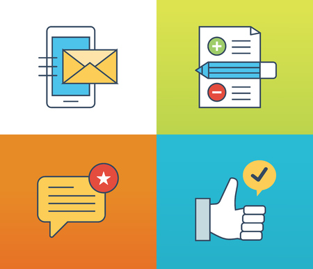 liked: Concept illustration - feedback, reviews and rating, testimonials, like, communication. Voting system and technology reviews. Editable Stroke. Vector illustration Illustration