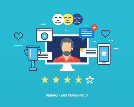 communications technology: Concept illustration - feedback, reviews and rating, testimonials, like, communication. Voting system, communications and technology reviews. Editable Stroke. Vector illustration
