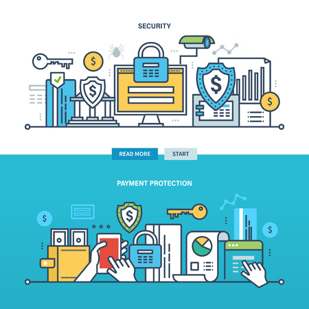 internet protection: Concept of internet business, technology, security, payment protection, monitoring and the statistics. Color Line icons collection. Vector design for website, banner, printed materials and mobile app.