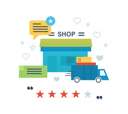 printed work: Concept illustration - online shopping, reviews and ratings work of store, delivery and products. Editable Stroke. Vector design for website, banner, printed materials and mobile app.