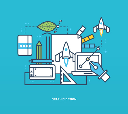 creative tools: Concept of illustration - graphic design, to implementation tools, the process of thinking, creativity, creative ideas. Vector design for website, banner, printed materials and mobile app. Illustration