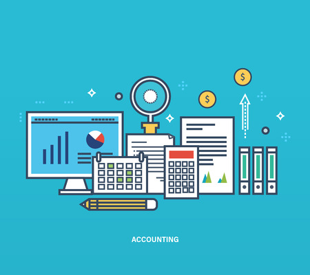 Concept of illustration - reporting, monitoring, planning, types and methods of economic accounting, statistics, analysis and management. Vector design for website, printed materials and mobile app. Illustration