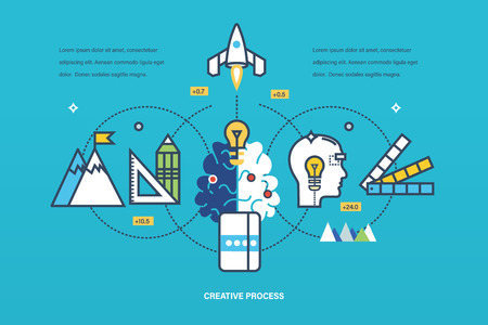 realization: Concept of illustration - creative process of thinking and realization of ideas, brainstorming, inspiration and creativity. Vector design for website, banner, printed materials and mobile app.