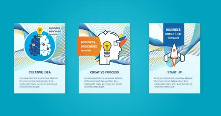 Concept van illustratie - creatieve ideeën, creatieve proces, start-up, denken en ontwikkeling. Abstracte templates afbeeldingen voor gebruik in brochures, flyer. Zakelijke brochure design template vector Stock Illustratie