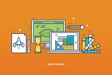 contents: Concept of illustration - learning design, tools for the implementation of work, education and technology. Vector illustration for website, banner, printed materials and mobile app.