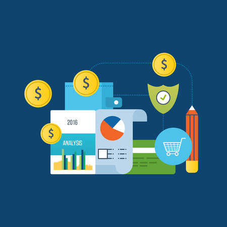 finance report: Concept of illustration - analysis and protection payments, finance and planning, financial report, online payments. Vector illustration for website, banner, printed materials and mobile app.