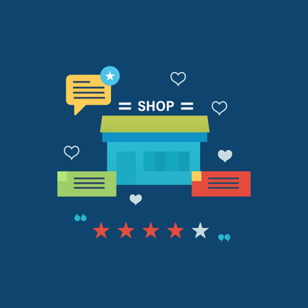 printed work: Concept illustration - online shopping, reviews and ratings work of store, delivery and products. Vector design for website, banner, printed materials and mobile app.