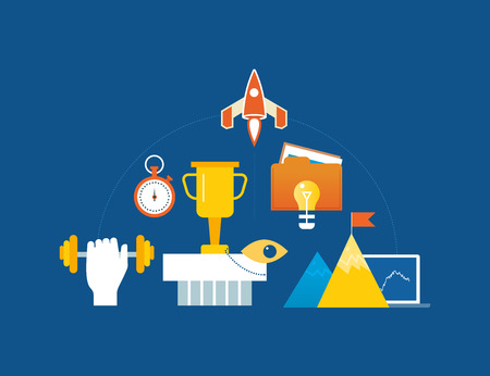 conquering: Concept of illustration - leadership, start-up, success and motivation, conquering peaks. Vector illustration for website, banner, printed materials and mobile app. Illustration