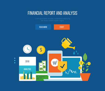 finance concept: Concept of illustration - finance, financial reporting and analysis, investment growth, management and planning. Vector illustration for website, banner, printed materials and mobile app.
