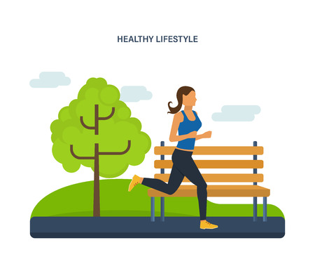 Concept illustration - maintaining a healthy lifestyle, athletics, joint jogging on the street. Running woman. Vector illustration can be used in the form of brochures, flyers, handouts