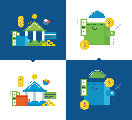 contributions: Concept of illustration - finance and financial contributions, online banking, insurance, investments and protection of deposits. Vector illustrations are shown on a light and dark background.
