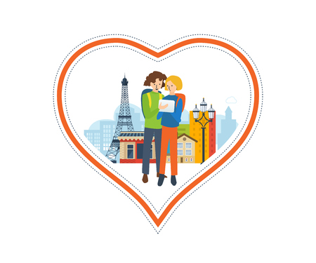 french culture: Concept of a trip to France and love for this city. The feeling of love to the city. Greeting card. The vector illustration can be used for a banner, commercial information, web-design Illustration