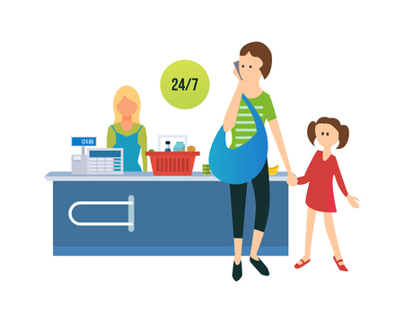 Concept of shopping and sales of shopping in a supermarket. Mom and daughter are calculated at the checkout for goods to the seller. The vector illustration can be used for a banner, information.