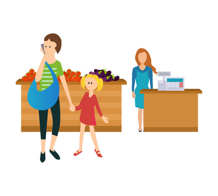 Concept of a visit to the store and make purchases. Mom and daughter in-store, pass by the food stalls. The vector illustration can be used for a banner, commercial information, web-design