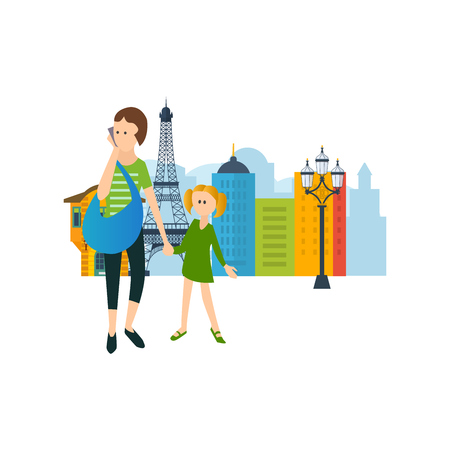 Concept of rest and walk around the city. Mother and daughter desided take a walk around the building. The vector graphics can be used for a banner, commercial information, web-design, a brochure.