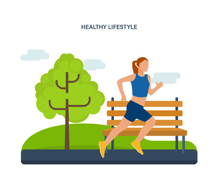 endurance run: Concept illustration - maintaining a healthy lifestyle, athletics, joint jogging on the street. Running woman. Vector illustration can be used in the form of brochures, flyers, handouts