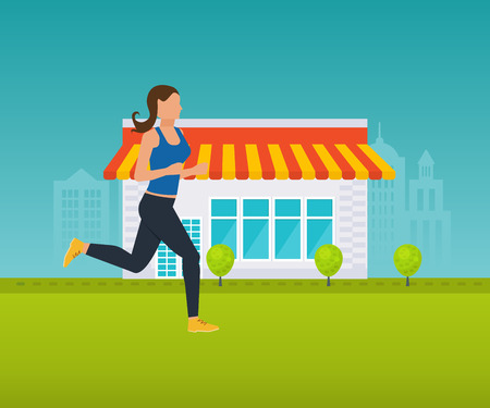Concept illustration - maintaining a healthy lifestyle, athletics, running outside on the lawn. Vector illustration can be used in the form of brochures, flyers, handouts. Illustration