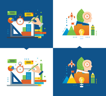 creative communication: Online training, design training, distance learning courses, modern education, communication, creative process, idea of starting up. Vector illustrations are shown on a light and dark background. Illustration