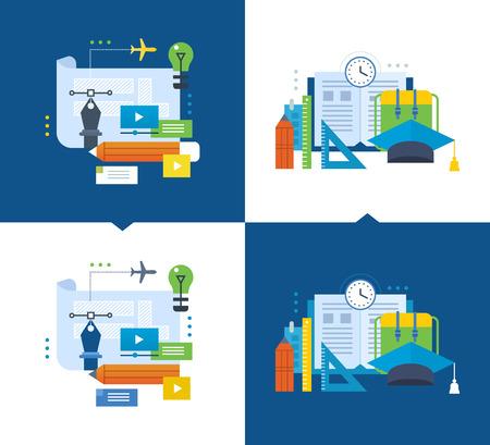 socialising: Concepto de ilustración - educación moderna, la formación de diseño gráfico a través de las comunicaciones de vídeo, cursos en línea y la socialización. ilustraciones de vectores se muestran sobre un fondo claro y oscuro.