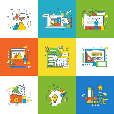 creativity concept: Concept of creativity and creativity tools, creative process, project management, wallet payment methods, design training, graphic design and web design, start-up, education. Vector illustration.