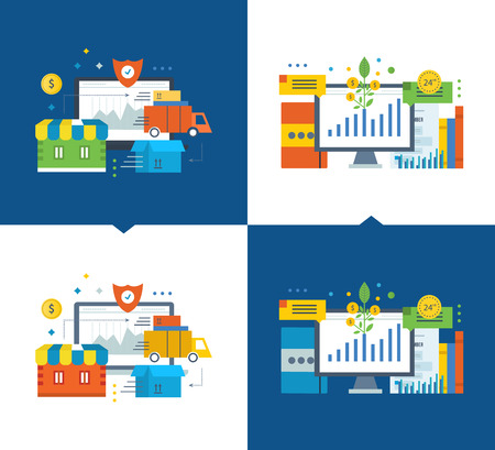 marketing online: Cycle of the order in the online store, off payment, protection up to delivery to the consumer. Investment fund market, investment growth. Vector illustrations on a light and dark background. Illustration