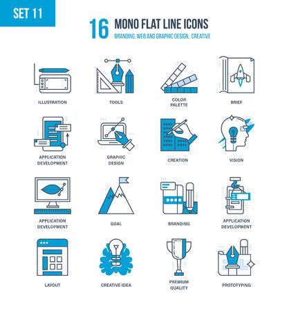 brief: Mono Flat Line icons set of branding, web and graphic design, creative, education, software development, brief, vision, branding. Vector illustration. Editable Stroke