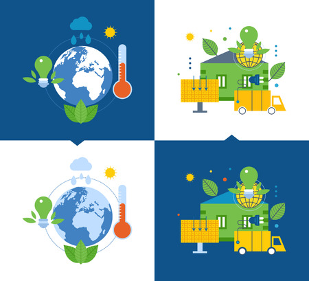 Concept of illustration - ecology and environmental issues, global warming, creating a favorable atmosphere eco, ecological fuel, home. Vector illustrations on a light and dark background.