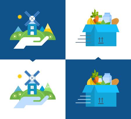 aseo: Concepto de ilustración - apoyo a la limpieza del medio ambiente, la comida limpia y productos naturales, la entrega de alimentos limpios. Ilustraciones del vector sobre un fondo claro y oscuro.