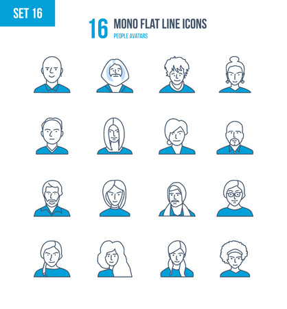 Mono Flat Line icons set of people and their avatars, images of people and their profession. Office worker, teacher, scientific researcher, manager, businessman. Vector illustration. Editable Stroke