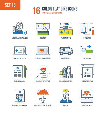 health education: Color Flat Line icons set of healthcare and medicine, medical and health insurance, education, research, medical hospital and laboratory, mobile first aid and online diagnosis. Editable Stroke.