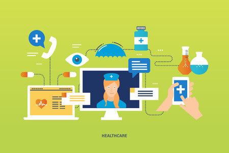 health technology: Concept of illustration - health care system, medical aid to the population, first aid, modern health care technology, tools and medicaments for the treatment. Vector illustration.