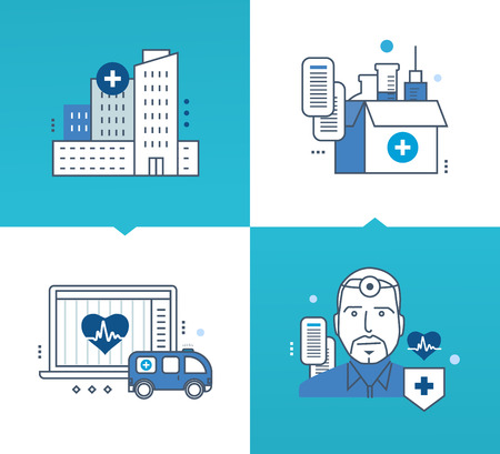 car care center: Modern medicine and technology, the means and methods of treatment, medicines and tools, the results of surveys and research. Vector illustrations on a light and dark background. Thin line icons